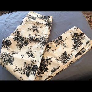 White House Black Market Slim Ankle Floral Jeans